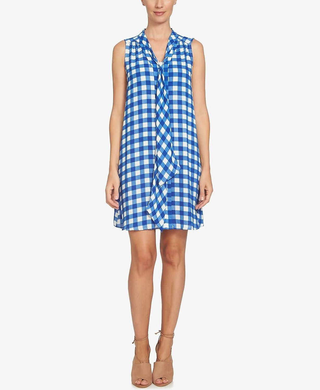 C&E CeCe TieNeck GinghamPrint Dress