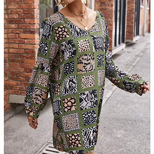 Vestido de Mujer, Totem Bohemio con Estampado de Manga Larga Suelta Vestido de Gasa Mujer AGreen XL