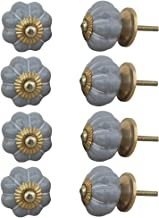 Indian-Shelf Handmade Ceramic Solid Drawer Knobs Furniture Pulls Cabinet Handle(Grey, 1.5 Inches)-Pack of 8