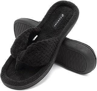 5396046e080f54 CIOR Fantiny Women s Cozy Memory Foam Spa Thong Flip Flops House Indoor  Slippers Plush Gridding Velvet