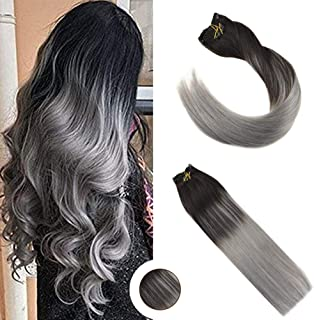Ugeat Clip in Remy Human Hair Extensions 18inch Balayage Color Black Fading to Silver 7PCS 120g Double Weft Clip on Human Hair Extensions