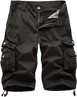 Pantalones Cortos para Hombre de algodón de Color Liso Relajado de Talla Grande Pantalones Cortos de Playa con Varios Bolsillos hasta la Mitad Informal