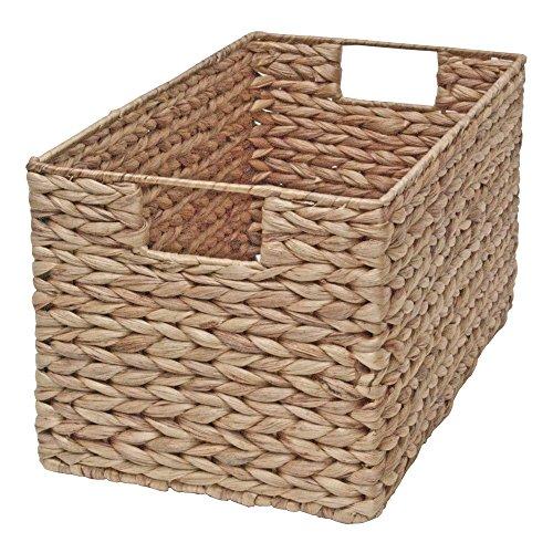 Casa Furnishings - Cesta de mimbre para almacenamiento, cajón para estantes, diseño rectangular, de jacinto de agua natural