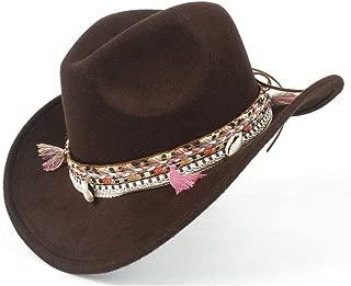 Sunhat Sun Hat Roll Up Women's Men's Winter Wide-Brimmed Cowboy Western Fashion Cowgirl Bowler Fedora Hat Colorful Fringe Belt Jazz Cap (Color : Brown, Size : 56-59cm)