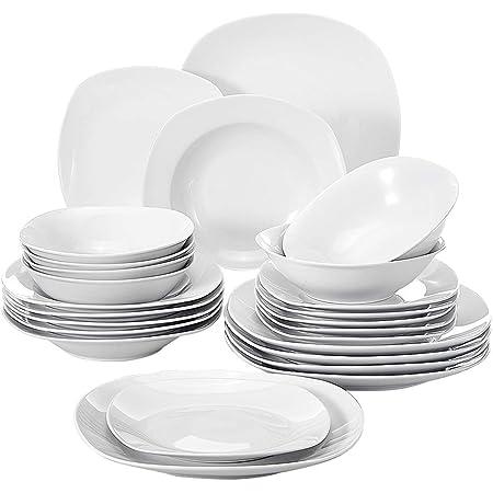 MALACASA Série Elisa, 24 Pcs Service de Table Porcelaine,Services Complets à Dinner, 6 Pcs * [Assiette Plat][Assiette Creuse][Assiette à Dessert][Bol à Céréale], Vaisselles à Dinner pour 12 Personnes
