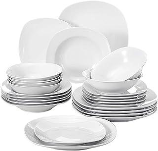 MALACASA Série Elisa, 24 Pcs Service de Table Porcelaine,Services Complets à Dinner, 6 Pcs * [Assiette Plat][Assiette Creu...