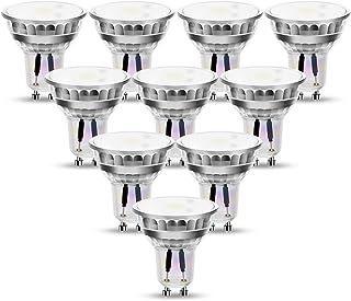 Bombillas LED GU10 puntuales, 4 vatios no regulables (equivalente a bombilla halógena de 50W), 380lm, Angulo de haz de 120° iluminación empotrada para techo, paquete de 10(6500K blanco frío)