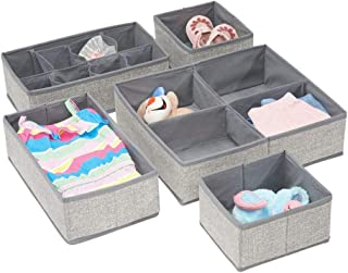 mDesign Soft Fabric Dresser Drawer and Closet Storage Organizer Set for Child/Baby Room or Nursery - Large Set of 5 Organizers, Textured Print - Gray