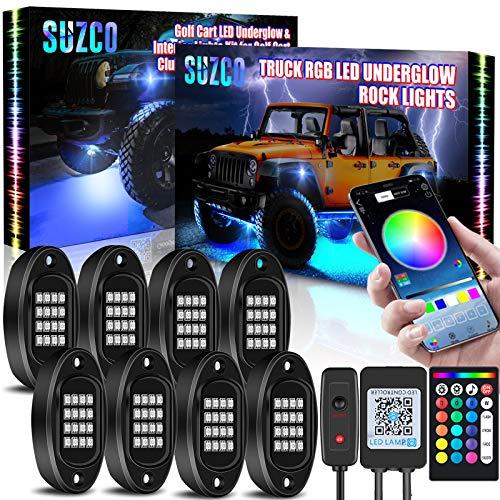 SUZCO 8-Pack Truck RGB LED Pod Rock Underglow Lights Kit, [128-LEDs] + [2-IN-1 Design] + [Underbody & Wheel Light] Multicolor Neon Under Light Set 12V with APP/RF for Jeep Wrangler Golf Cart UTV SUV