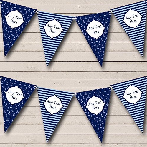 Navy Blue Nautical Sailing Anchor Stripes Birthday Bunting Party Banner Decoration Garland