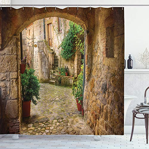 """Ambesonne Scenery Shower Curtain, Landscape from Another Door Antique Style Stone Village Tuscany Italian Valley, Cloth Fabric Bathroom Decor Set with Hooks, 70"""" Long, Pale Brown"""