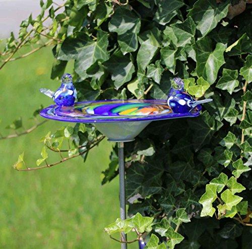 MP Glaszauber Edle Vogeltränke mit 2 Vögeln aus Glas blau handgefertigt Vogelbad Glasobjekt Tränke für Vögel