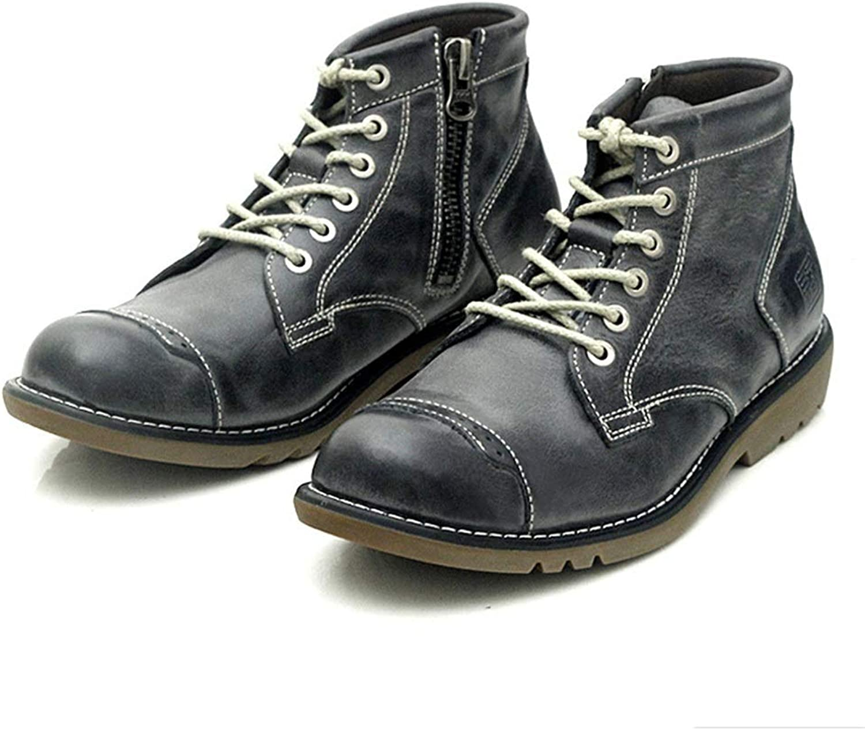 ZHRUI Chukka stövlar for män män män Durable Non Slip Side Zip Genuine läder mode stövlar (Färg  svart, Storlek  UK 7)  Beställ nu med stor rabatt och gratis leverans