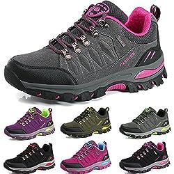 BOLOG Outdoor-Halbschuhe, Wanderschuhe, rutschfeste Kletterschuhe, leicht, atmungsaktiv, Trekkingschuhe für Damen und Herren, Grau - Grau/Pink - Größe: 40.5 EU