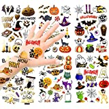 HOWAF Niños Halloween Tatuajes Temporales Kit, 120+ Brillo Impermeables Falso Tatuajes Pegatinas Halloween para Niños Halloween Maquillaje Disfraz Fiesta Relleno Artículos
