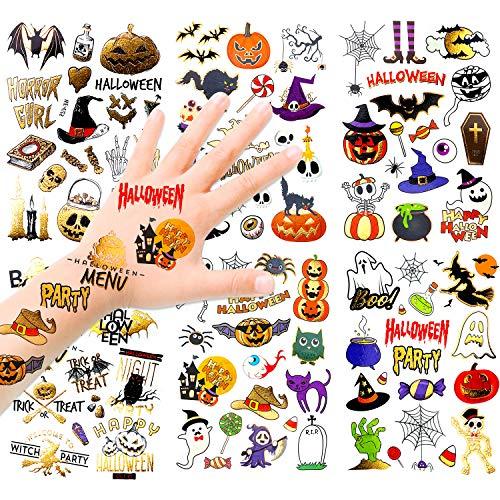 HOWAF Glitter Halloween Tatouages Temporaires Enfants, 120+ Halloween Etanche Tatouages Ephémères Enfant Fête Favors Maquillage Déguisement, Citrouille Fantôme Chauve Souris Sorcière Bonbons Araignée