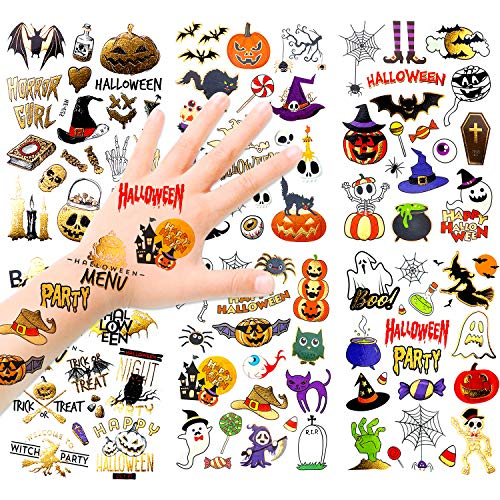 HOWAF Niños Halloween Tatuajes Temporales Kit, 120+ Brillo Impermeables Falso Tatuajes Pegatinas Halloween para Niños Halloween Maquillaje Disfraz Fiesta Relleno Artículos