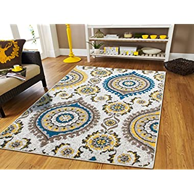 Luxury Rugs Contemporary Rugs 5x7 Grey Cream Beige Yellow Blue Modern Rugs For Living Room 5x8 Turquoise Color Washable Rugs Office Kitchen Ideal Carpet, 5x8 Rug