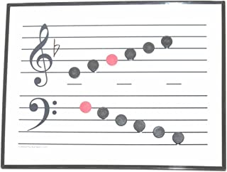 Magnet Notes with Dry Erase Music Staff Whiteboard -- Educational Tool. (15