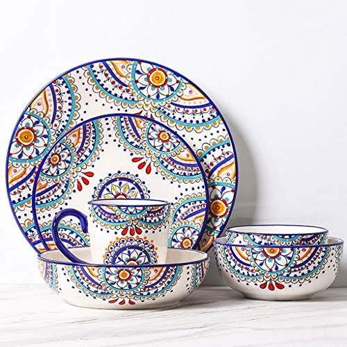 ZLDGYG 6 Piezas patrón mediterráneo vajilla de vajilla de cerámica Occidental Platos Platos combinación Moda Creatividad Fruta Plato Profundo Ensalada Cuenco