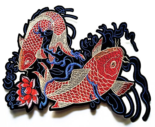 Nipitshop Patches Big Size Patch Red Japanese Carp Koi Fish Lotus Lucky Animal Embroidered Applique Iron-on Patch for Clothes Backpacks T-Shirt Jeans Hat Bag