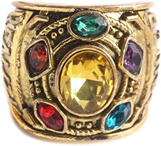 ZOA Thanos Infinite Power Ring Marvel's The Avengers Golden Gauntlet Rings Soul Stone Jewelry Cosplay Costume Prop for Men...