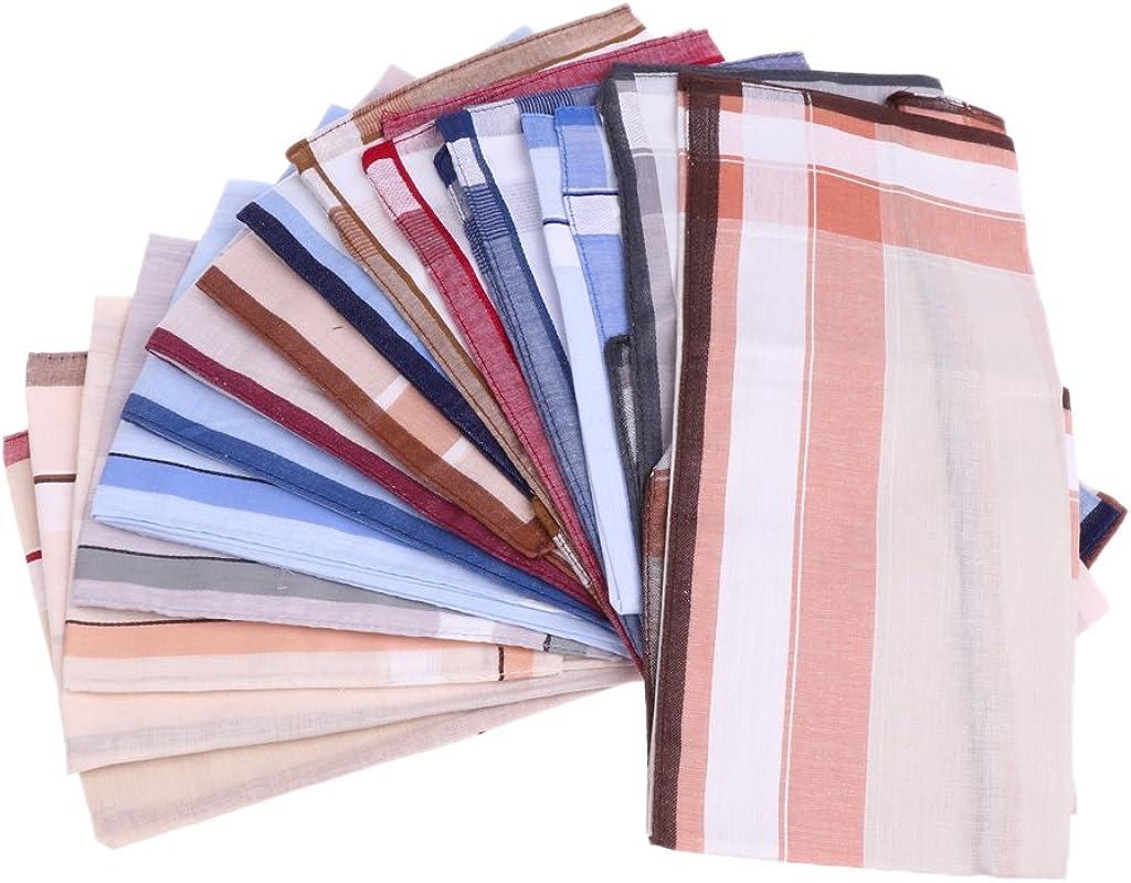 Dolity 12pcs Gentleman Men Hankies 100% Cotton Pocket Square Striped Handkerchief