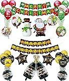 Reversible MERRY CHRISTMAS y HAPPY NEW YEAR Banner y Globos Set, Guirnalda de pancartas de doble cara y 32 globos para Navidad y Año Nuevo 2021 Decoraciones para fiestas en casa