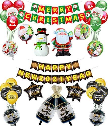 PIXHOTUL Reversible Merry Christmas y Happy New Year Banner y Globos Set, Guirnalda de pancartas de Doble Cara y 32 Globos para Navidad y Año Nuevo 2021 Decoraciones para Fiestas en casa