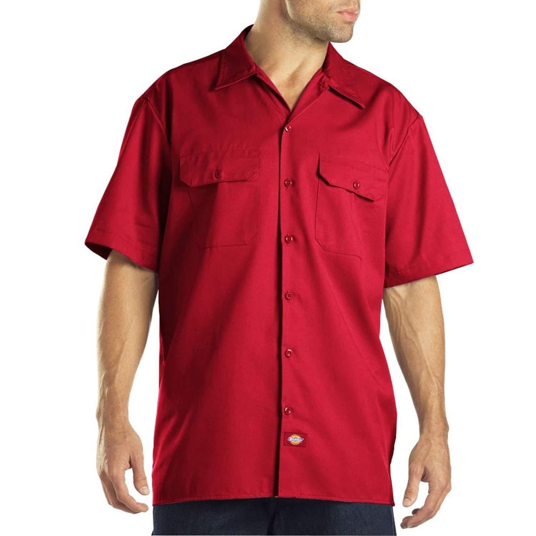 (ディッキーズ)Dickies 半袖 ワークシャツ 無地 1574 Short Sleeve Work Shirt S,M,L,XLサイズ Red(レッド)