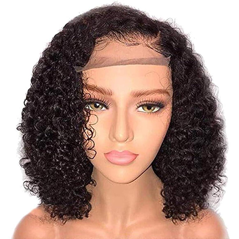 ペリスコープコンペメール女性フロントレースブラジルバージンヘアカーリーウィッグ合成繊維耐熱性高品質かつら無料ウィッグキャップブラック14インチ