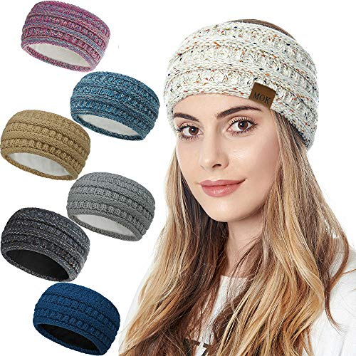 LSSUP Womens Winter Ear Warmer Headband,Cable Crochet Turban Ear Warmer,Soft, Stretchy & Thick Head Wrap,Winter Ear Warmers Suitable for Daily Wear and Sport(7 Colors) (Cream Color)