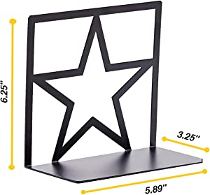 GEOMOD Metal Star Bookends Thin Black Decorative (1 Pair) Sturdy Book Ends Supports for Tables, Desks, Shelves | Fits Tall, Hardback Bindings