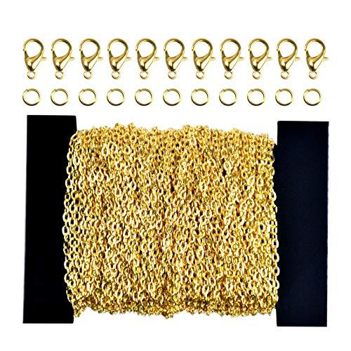 Chstarina 39.4 Füße 3 * 4mm Edelstahl DIY Link Kette Meterware Gliederkette Chain mit 100 Sprung Ringe und 30 kettenverschluss für Schmuck Basteln Herstellung, Gold und Silber (Gold)