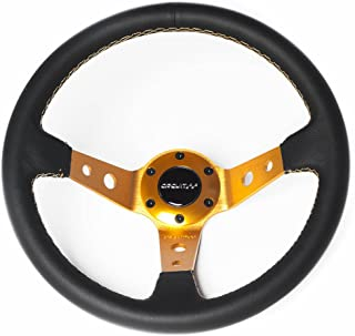 Circuit Performance CP330 Steering Wheel Gold Center with Black Leather and Gold Stitching 350mm Deep Dish