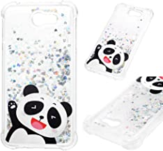 Galaxy J7 V J7V Case, Clear Liquid Glitter Case Drop Resistant Bling Shiny Sparkle Flowing Moving Hearts Shock Absorption Soft TPU Bumper Colorful Painting Cover for Samsung Galaxy J7 2017 - Panda