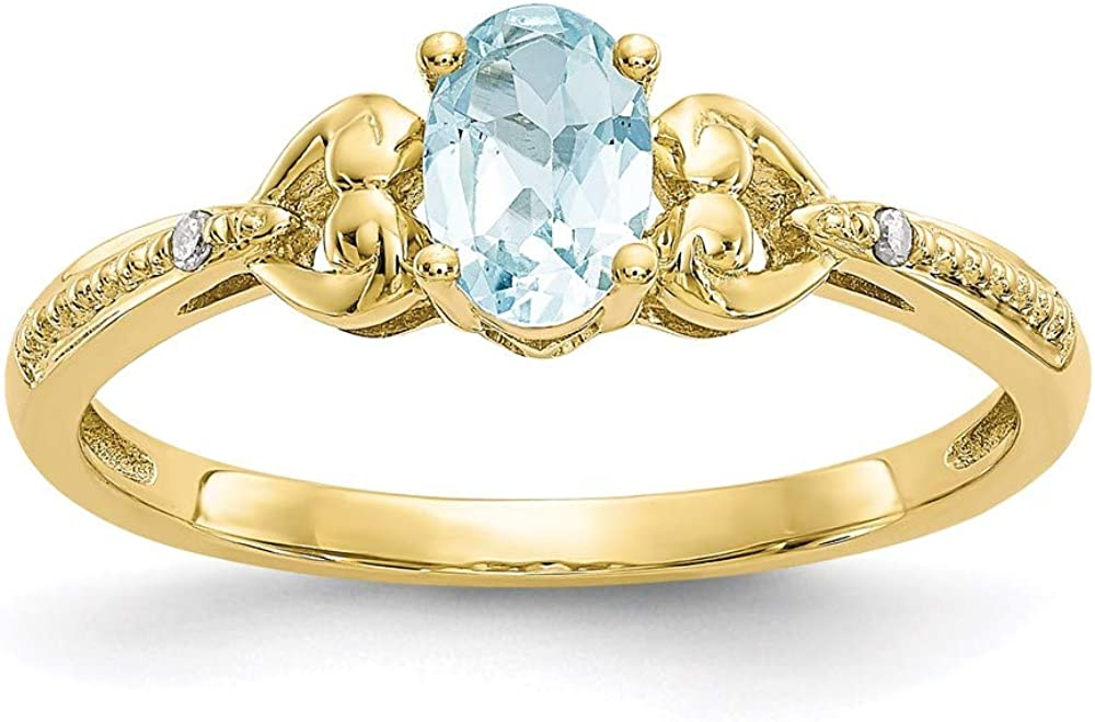 10k Yellow Gold Blue Aquamarine Diamond Band Ring Size 7.00 Stone Birthstone March Oval Fine Jewelry For Women Gifts For Her