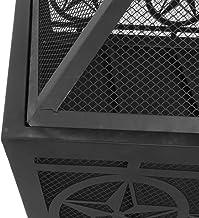 Zerone Estufa de Hierro Forjado, Estufa de carbón para Exteriores Estufa de calefacción para Camping Estufa de leña con Tapa, 67 x 67 x 61 cm