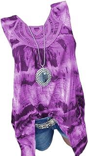 Doufine Women Sleeveless Swing Loose T Shirts Casual Tunic Blouse Top