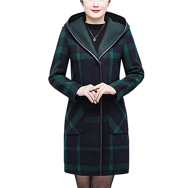 [美しいです] レディース コート 母の服 ロング 防寒 あったか 厚手 シンプル カジュアル フード付き 冬 保温 防寒 通勤 着痩せ 外出 トップス 修身 チェック柄