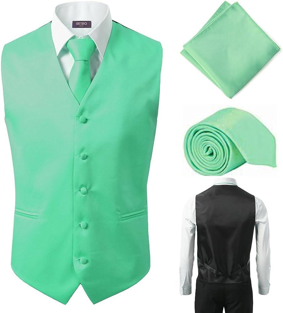 3 Pcs Vest + Tie + Hankie Lime Green Fashion Men's Formal Dress Suit Waistcoat