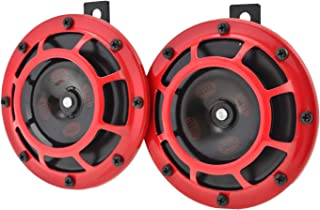 HELLA 003399801 Supertone 12V High Tone / Low Tone Twin Horn Kit with Red Protective Grill, 2 Horns (3AG 003 399-801)