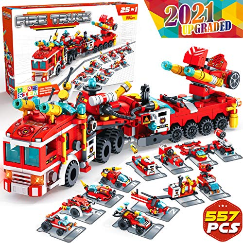 Graceduck Construction Building Toys for Kids  25 in 1 Fire Truck Boat Helicopter Car Toy Building Blocks Model Kit Educational STEM activities Gifts for Boys Girls Teen age 6 7 8 9 10 11 12 Year Old