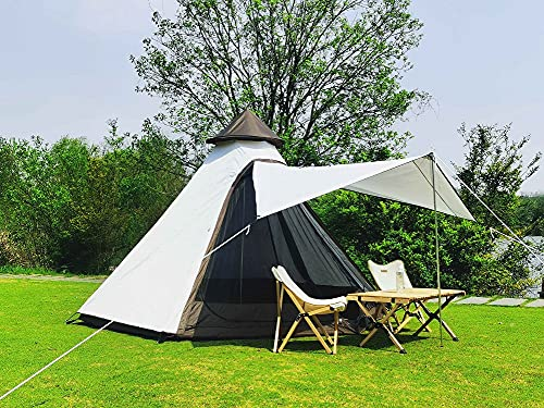Latourreg Outdoor 4 Season Double Layers 12FTx10FTx8FT Pyramid Camping Tent Waterproof Family Camping Tipi Tent Pagoda Teepee Tents for 3-4 Person (White)