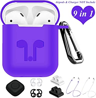 AirPods Case,9 in 1 Airpods Accessories Kits Protective Silicone Cover and Skin Compatible Apple Airpods Watch Band Holder/Ear Hook/Anti-Lost Stap/Clip/Keychain/Grip (Purple)