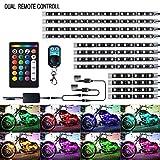 バイク用 LEDテープライト 12本セット RGB 全18色 切り替え 音楽連動 5050-SMD 汎用 イルミネーション 防水IP67 装飾用 ストリップライト IR&RFリモコン付き(日本語マニュアル)