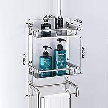 HLY Crochet à serviette, porte-serviettes à 2 couches en acier inoxydable 304 pour salle de bain,28.5x43.5x15x24.7cm