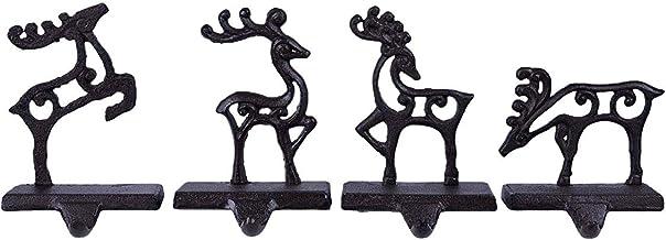 Reindeer Team Cut-out Poses 7 x 5 Black Metal Christmas Stocking Holder Set of 4