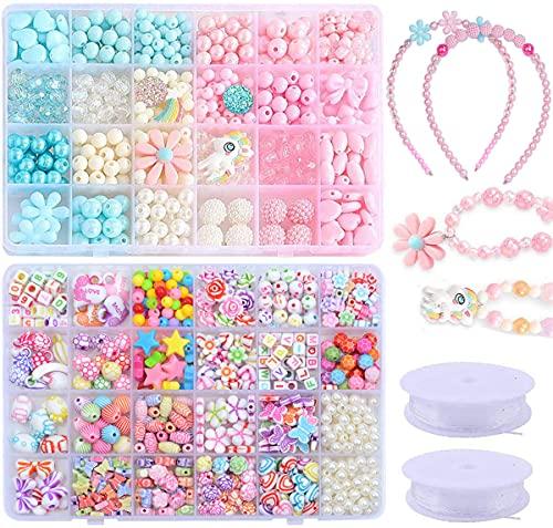 Veilhoho Set di perline da infilare per bambini, set fai te bracciali, collane, te, con colorate, ciondoli a forma unicorno, gioielli regalo compleanno ragazze