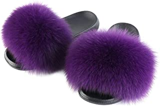 Women's Fluff Slide Slipper Real Fox Fur Slippers Open Toe House Shoes Sandals Indoor or Outdoor Slippers